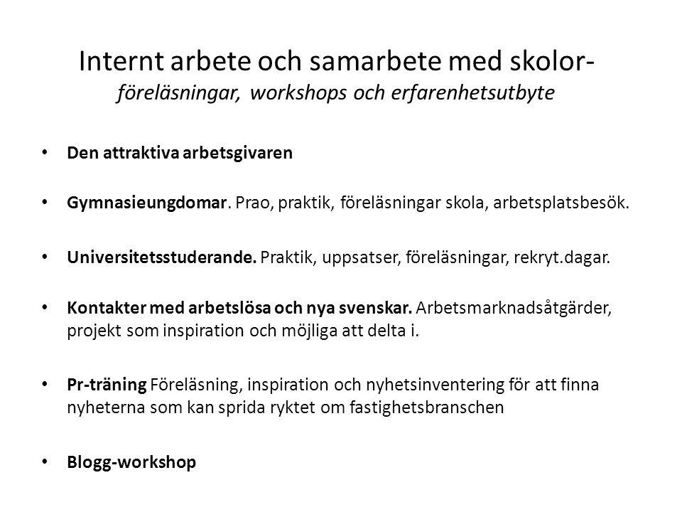 Internt arbete och samarbete med skolor- föreläsningar, workshops och erfarenhetsutbyte