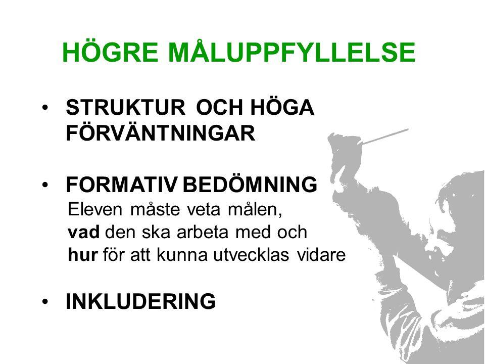 HÖGRE MÅLUPPFYLLELSE STRUKTUR OCH HÖGA FÖRVÄNTNINGAR