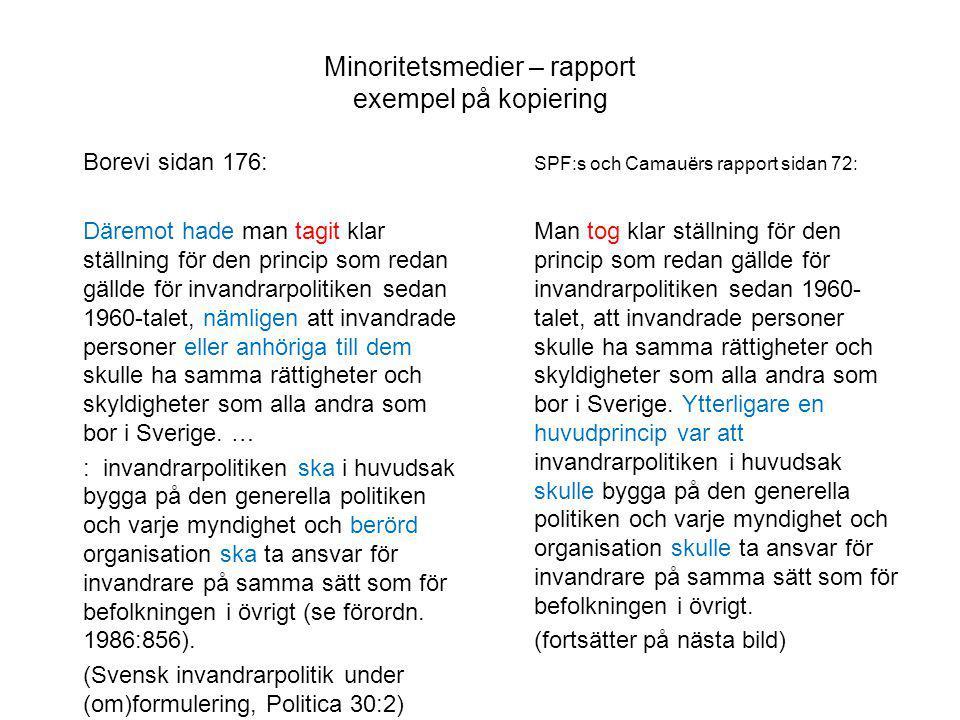 Minoritetsmedier – rapport exempel på kopiering
