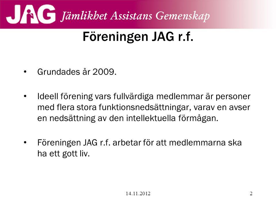 Föreningen JAG r.f. Grundades år 2009.