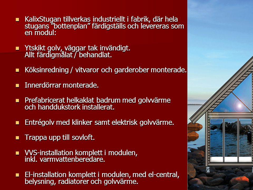 KalixStugan tillverkas industriellt i fabrik, där hela stugans bottenplan färdigställs och levereras som en modul: