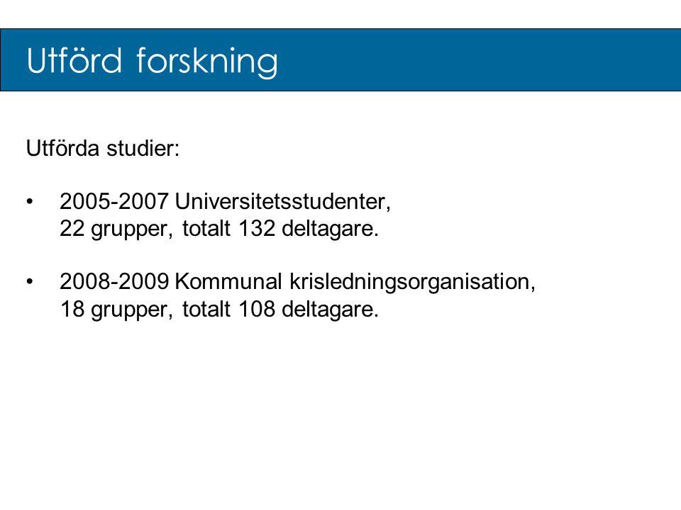 Utförd forskning Utförda studier: