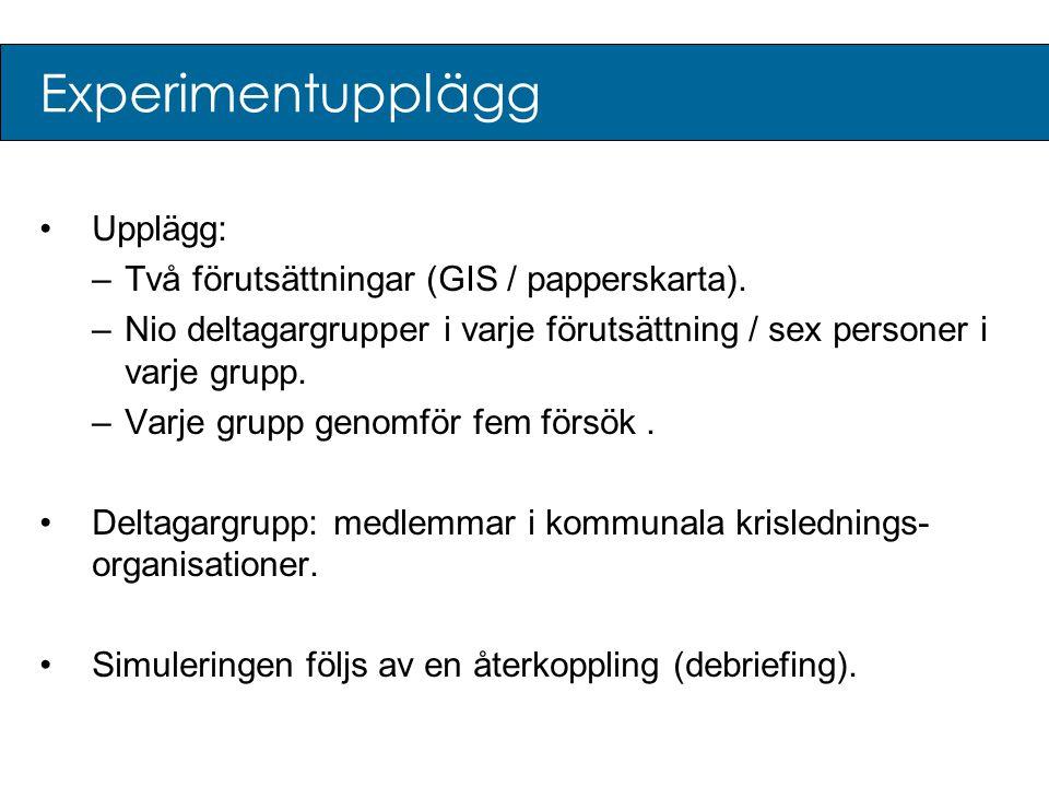 Experimentupplägg Upplägg: Två förutsättningar (GIS / papperskarta).