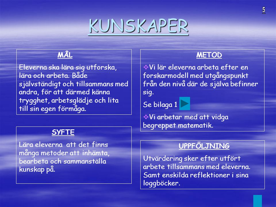 KUNSKAPER 5. MÅL.