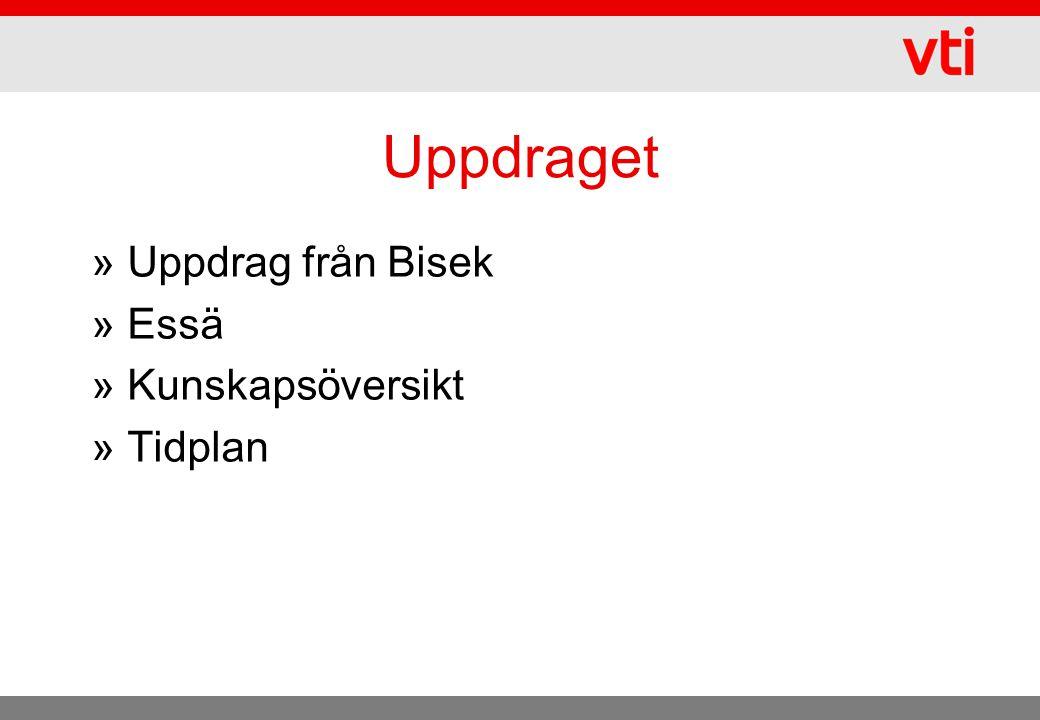 Uppdraget Uppdrag från Bisek Essä Kunskapsöversikt Tidplan