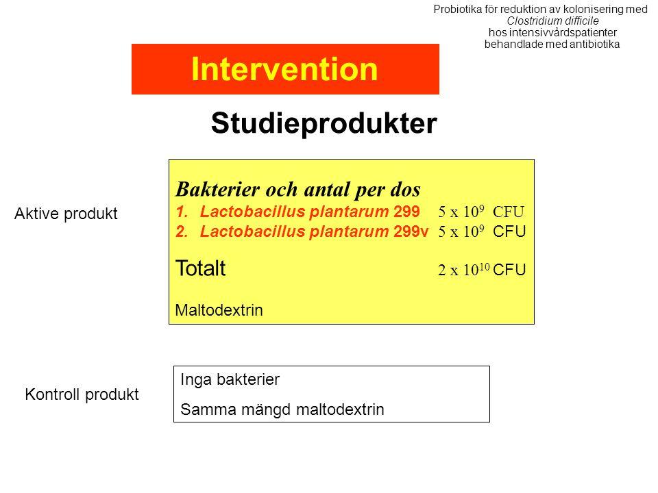 Intervention Studieprodukter Bakterier och antal per dos