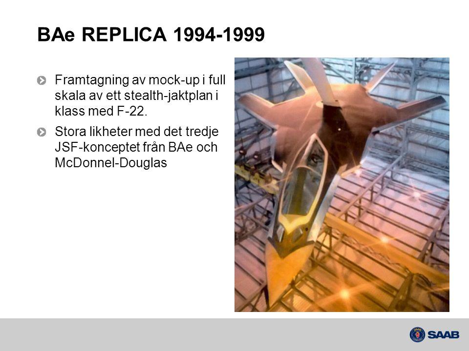 BAe REPLICA 1994-1999 Framtagning av mock-up i full skala av ett stealth-jaktplan i klass med F-22.