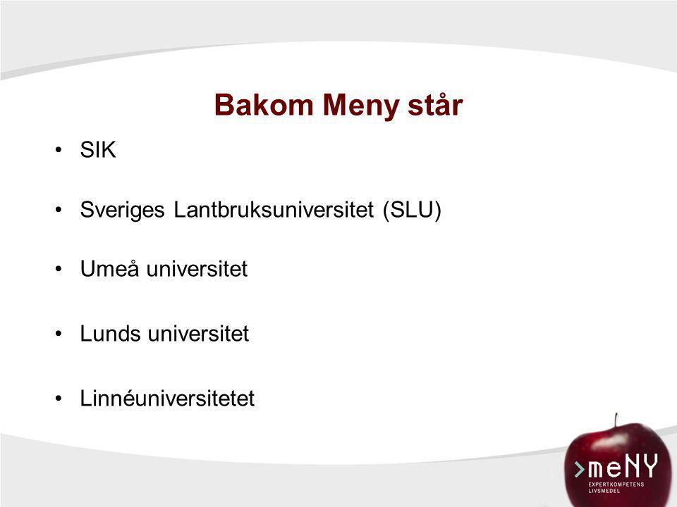 Bakom Meny står SIK Sveriges Lantbruksuniversitet (SLU)