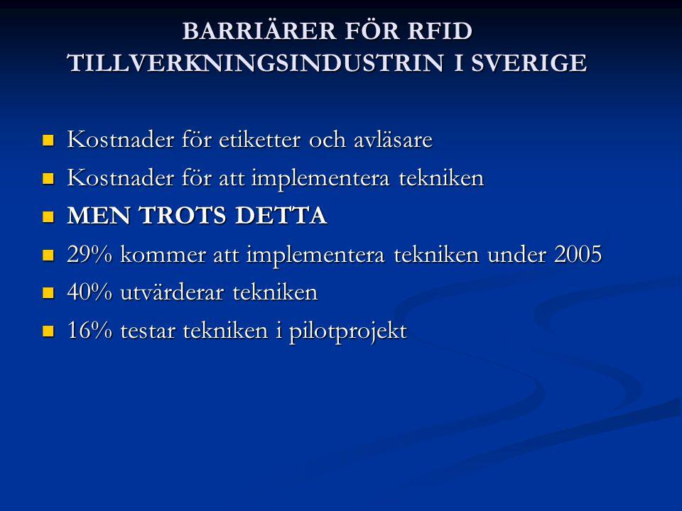 BARRIÄRER FÖR RFID TILLVERKNINGSINDUSTRIN I SVERIGE