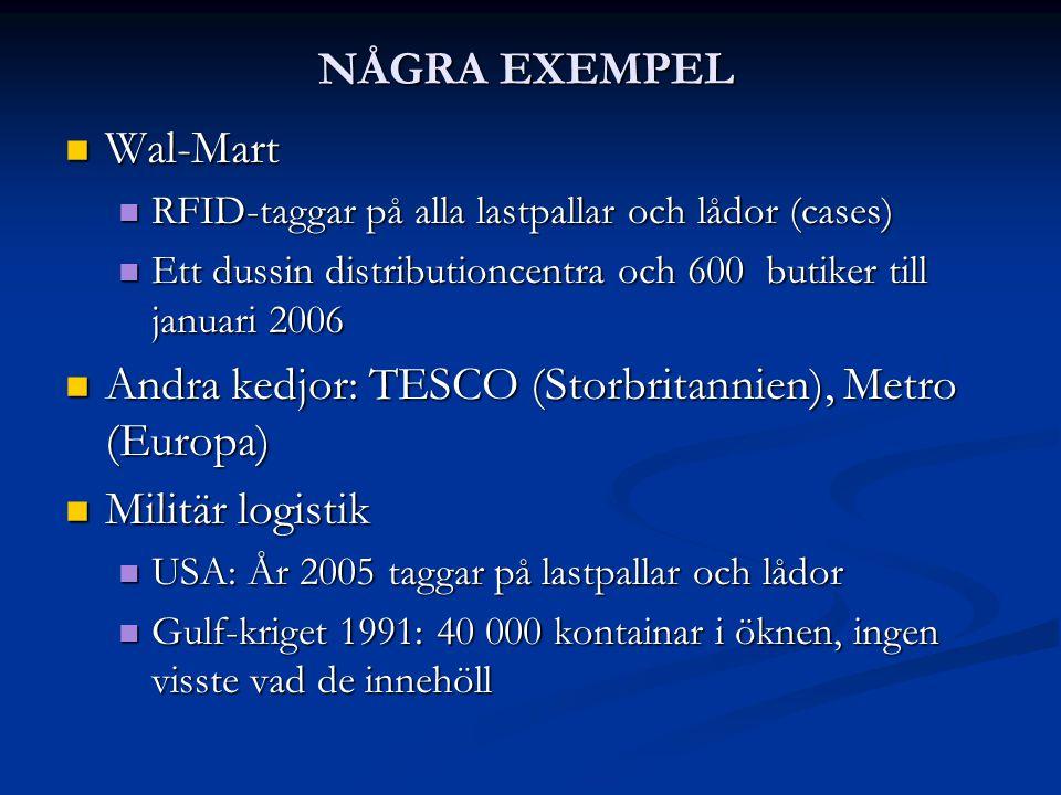 Andra kedjor: TESCO (Storbritannien), Metro (Europa) Militär logistik