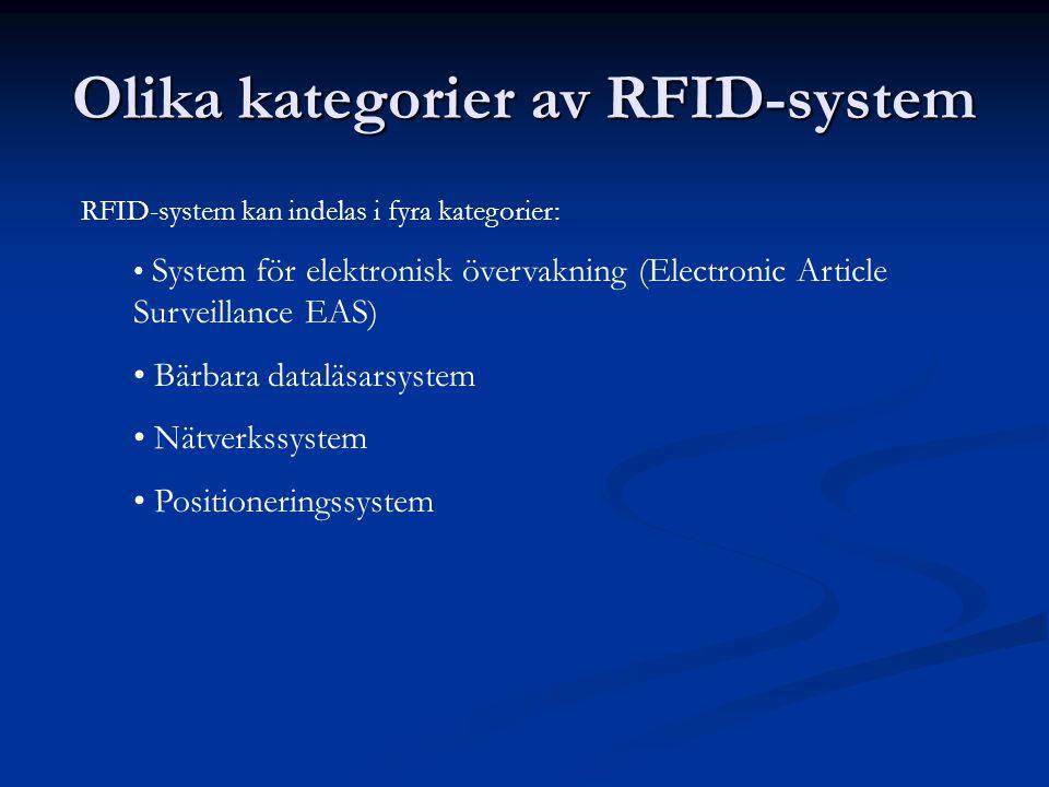 Olika kategorier av RFID-system