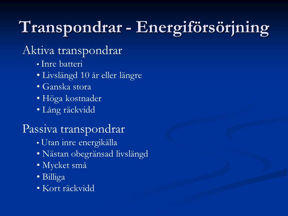 Transpondrar - Energiförsörjning