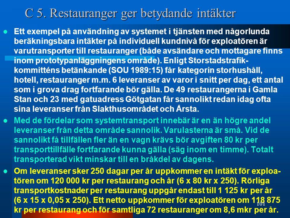 C 5. Restauranger ger betydande intäkter
