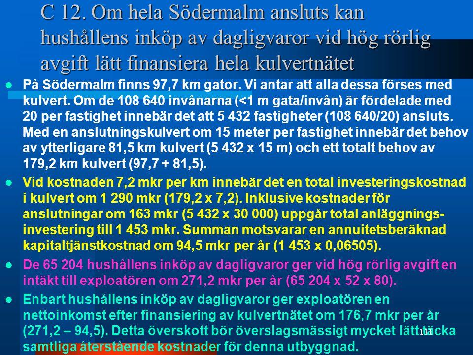 C 12. Om hela Södermalm ansluts kan hushållens inköp av dagligvaror vid hög rörlig avgift lätt finansiera hela kulvertnätet