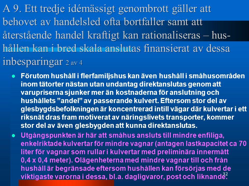 A 9. Ett tredje idémässigt genombrott gäller att behovet av handelsled ofta bortfaller samt att återstående handel kraftigt kan rationaliseras – hus-hållen kan i bred skala anslutas finansierat av dessa inbesparingar 2 av 4