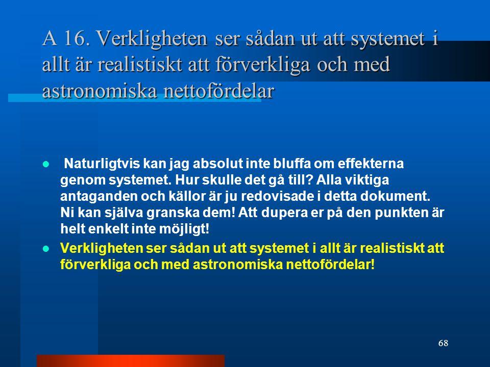 A 16. Verkligheten ser sådan ut att systemet i allt är realistiskt att förverkliga och med astronomiska nettofördelar