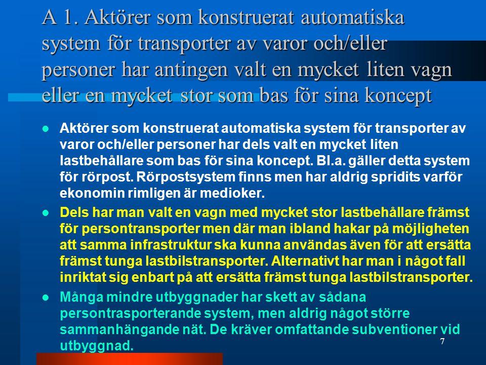 A 1. Aktörer som konstruerat automatiska system för transporter av varor och/eller personer har antingen valt en mycket liten vagn eller en mycket stor som bas för sina koncept