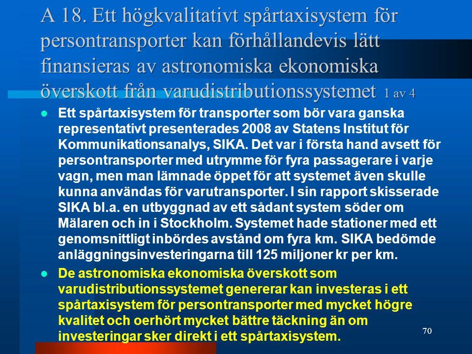 A 18. Ett högkvalitativt spårtaxisystem för persontransporter kan förhållandevis lätt finansieras av astronomiska ekonomiska överskott från varudistributionssystemet 1 av 4