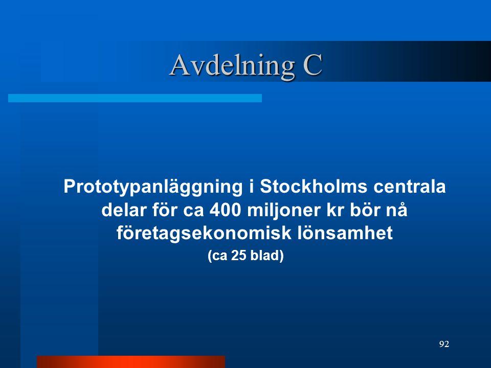 Avdelning C Prototypanläggning i Stockholms centrala delar för ca 400 miljoner kr bör nå företagsekonomisk lönsamhet.