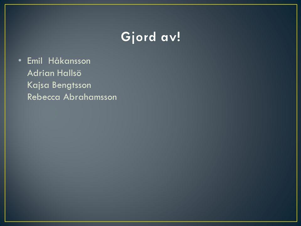 Gjord av! Emil Håkansson Adrian Hallsö Kajsa Bengtsson Rebecca Abrahamsson