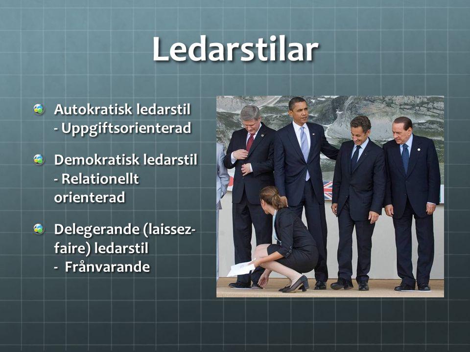 Ledarstilar Autokratisk ledarstil - Uppgiftsorienterad
