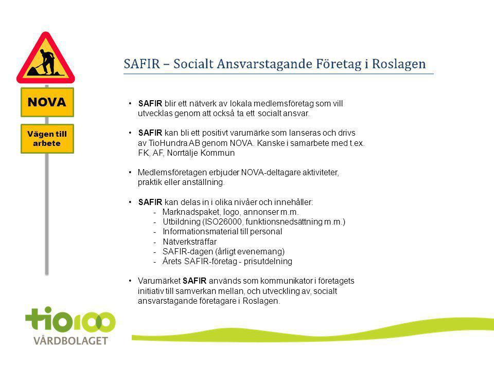 NOVA SAFIR blir ett nätverk av lokala medlemsföretag som vill utvecklas genom att också ta ett socialt ansvar.