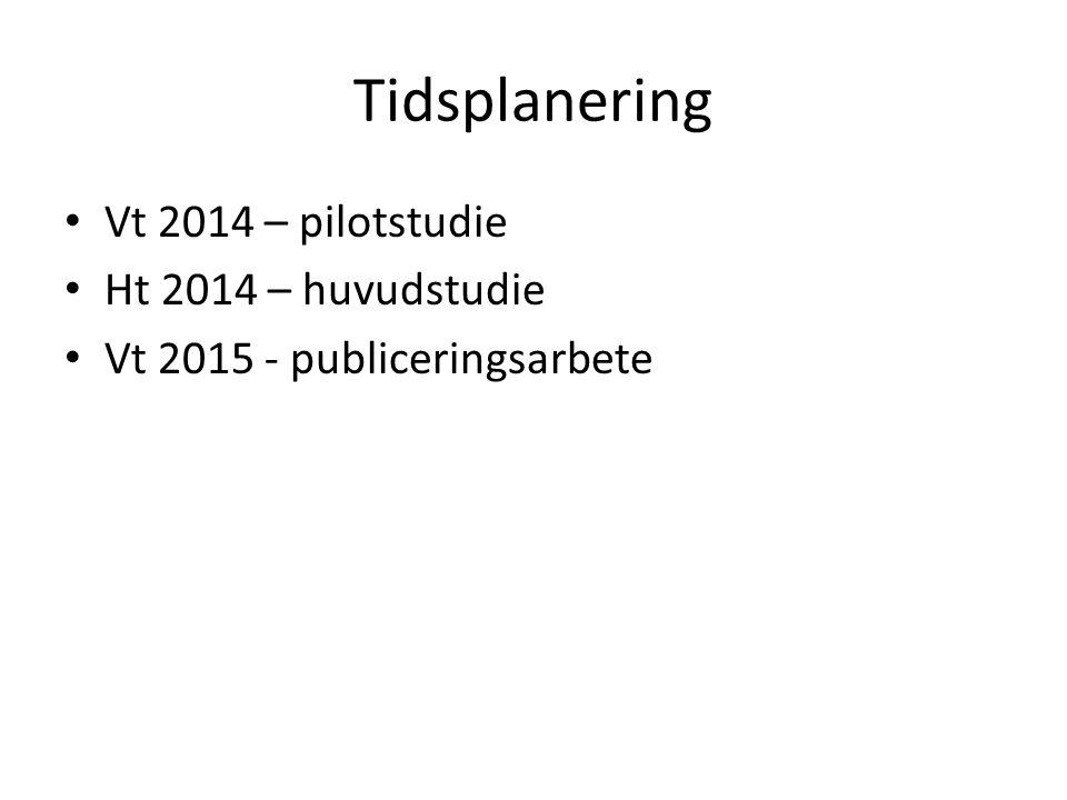 Tidsplanering Vt 2014 – pilotstudie Ht 2014 – huvudstudie