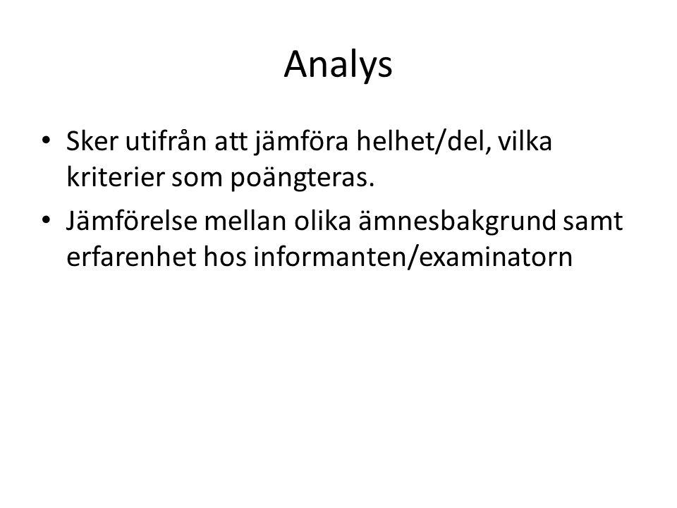 Analys Sker utifrån att jämföra helhet/del, vilka kriterier som poängteras.