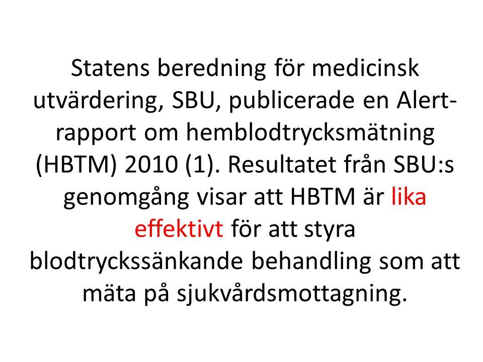Statens beredning för medicinsk utvärdering, SBU, publicerade en Alert-rapport om hemblodtrycksmätning (HBTM) 2010 (1).