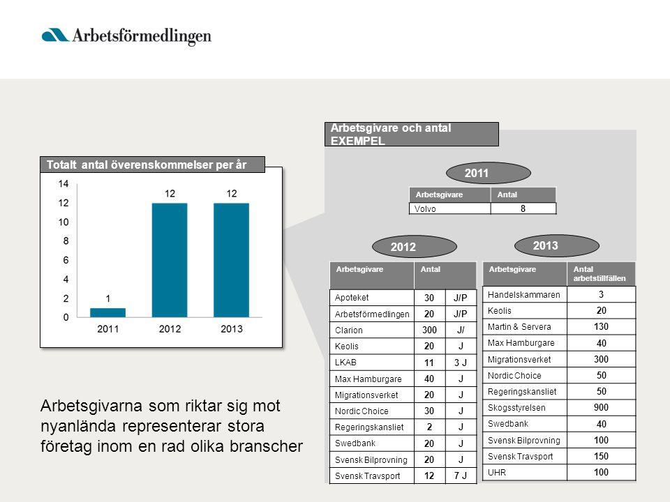 Arbetsgivare och antal EXEMPEL