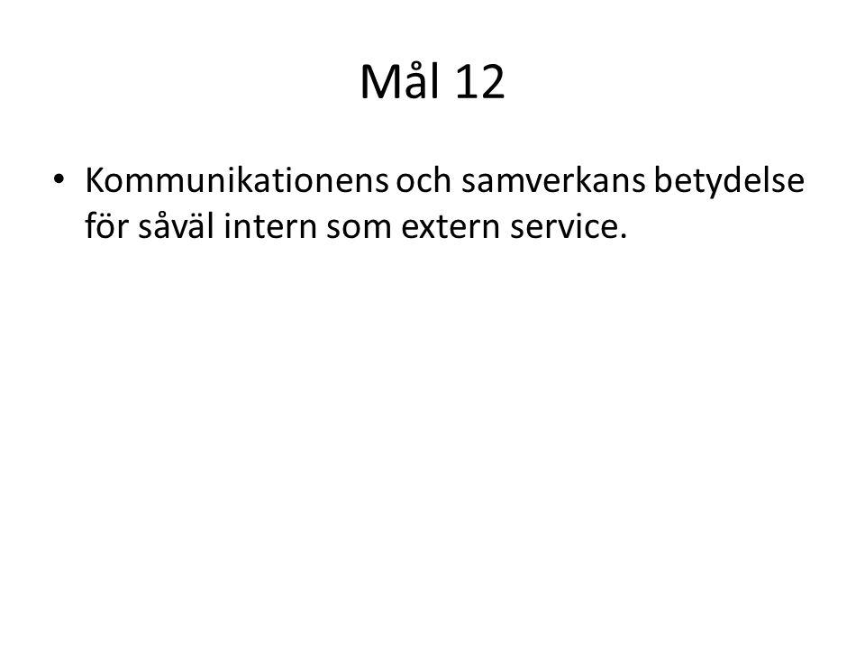 Mål 12 Kommunikationens och samverkans betydelse för såväl intern som extern service.
