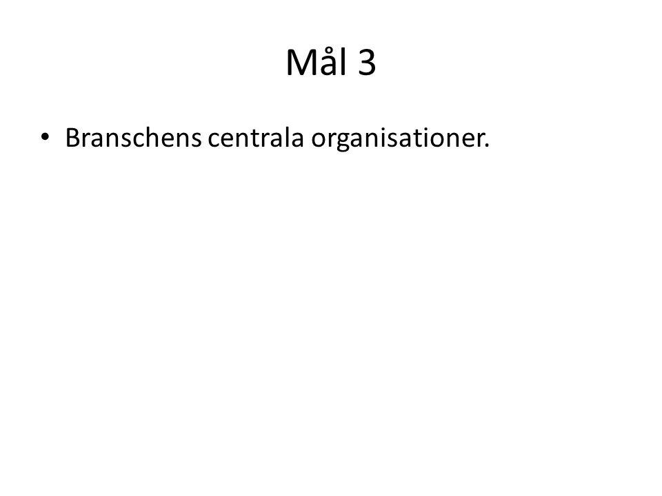 Mål 3 Branschens centrala organisationer.
