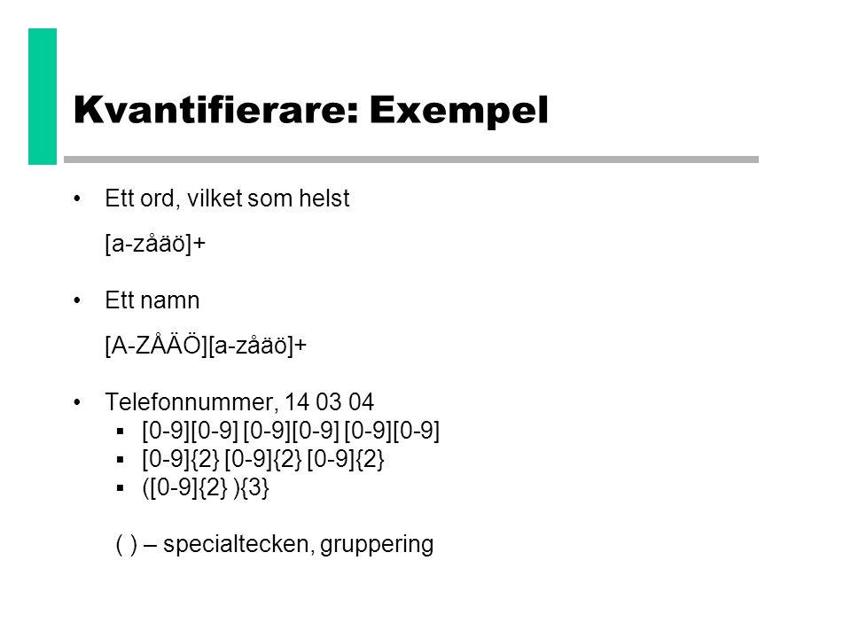 Kvantifierare: Exempel