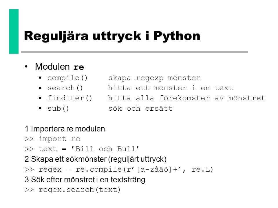 Reguljära uttryck i Python