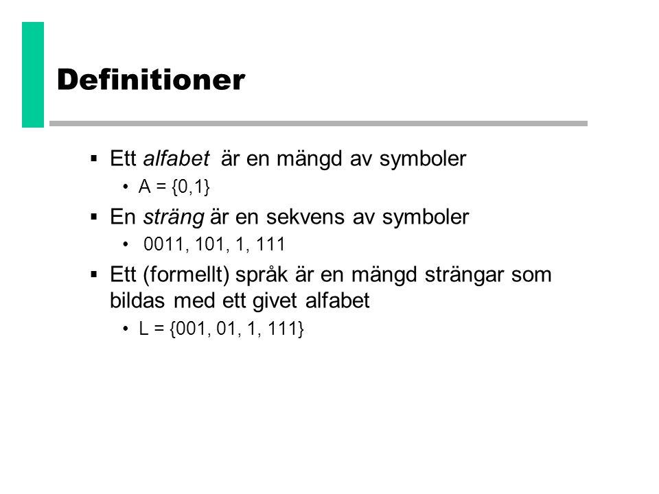Definitioner Ett alfabet är en mängd av symboler