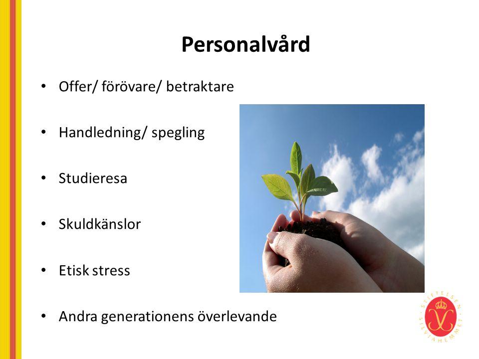 Personalvård Offer/ förövare/ betraktare Handledning/ spegling