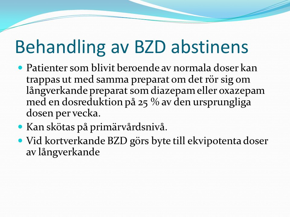Behandling av BZD abstinens