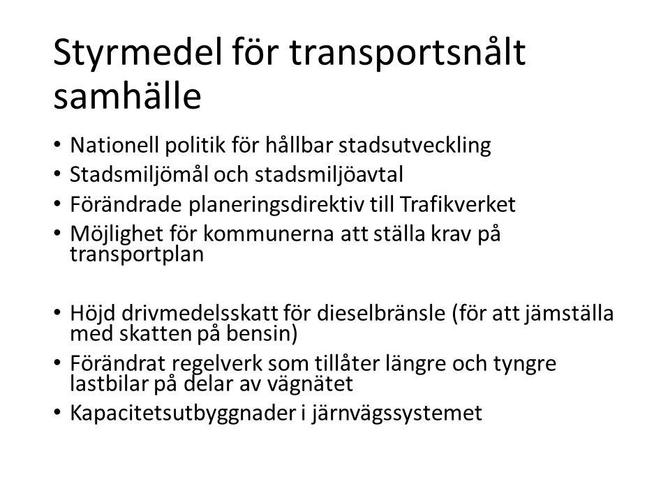 Styrmedel för transportsnålt samhälle