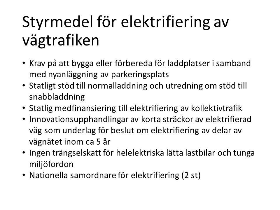 Styrmedel för elektrifiering av vägtrafiken