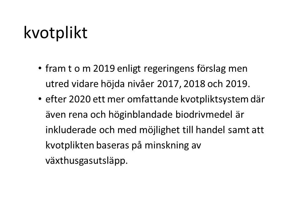 kvotplikt fram t o m 2019 enligt regeringens förslag men utred vidare höjda nivåer 2017, 2018 och 2019.