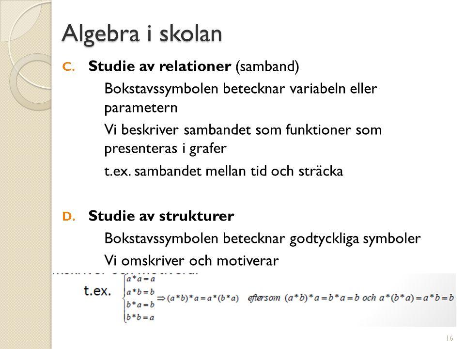 Algebra i skolan Studie av relationer (samband)