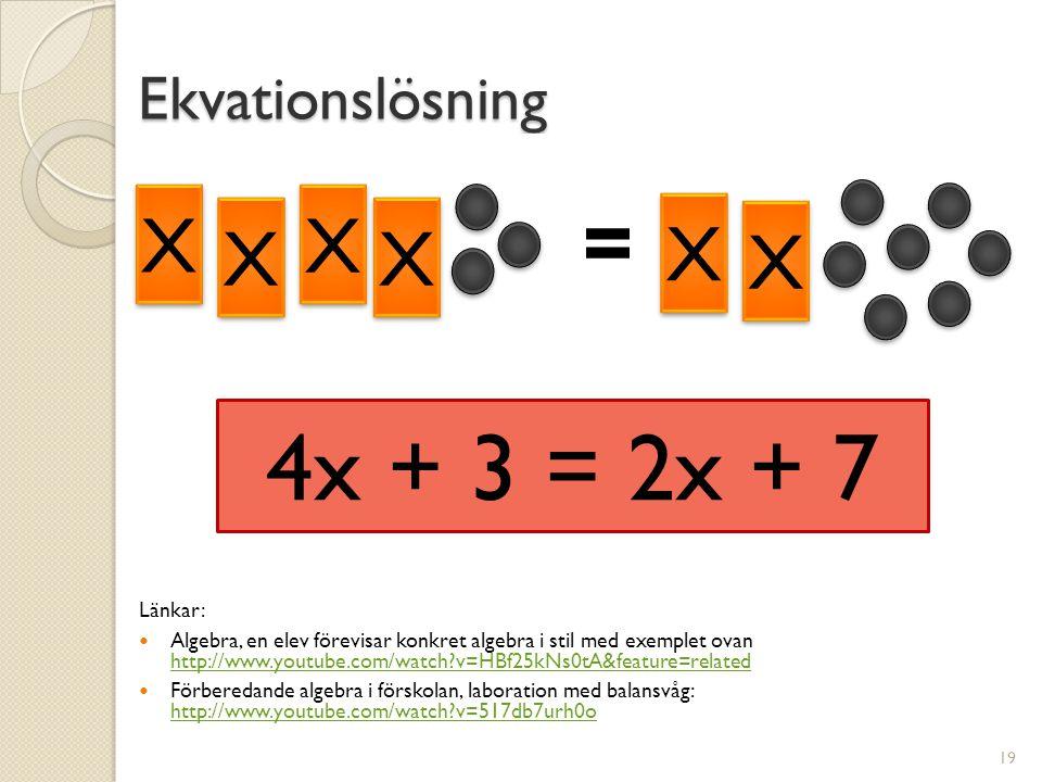 4x + 3 = 2x + 7 = = X X Ekvationslösning Länkar: