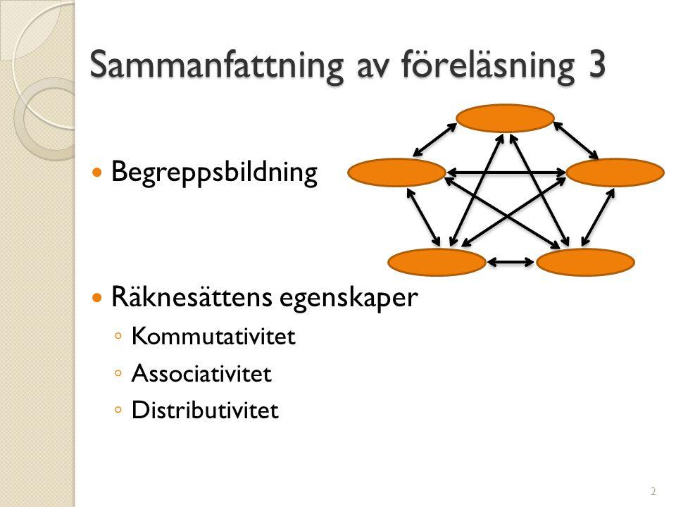 Sammanfattning av föreläsning 3