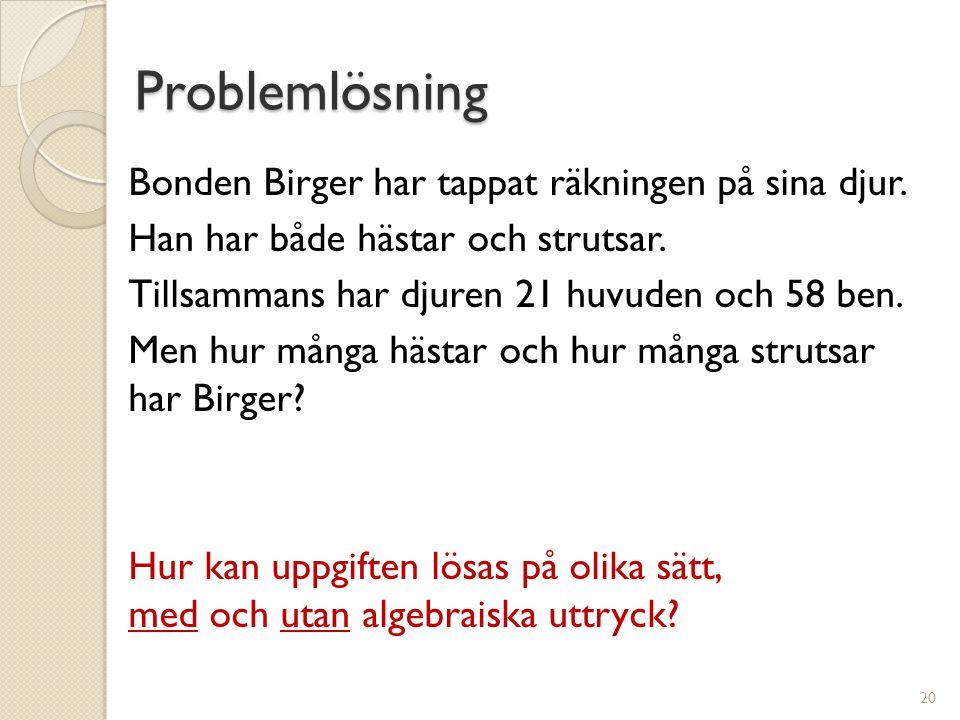 Problemlösning Bonden Birger har tappat räkningen på sina djur.