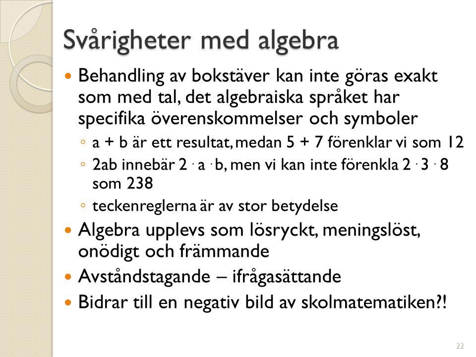 Svårigheter med algebra