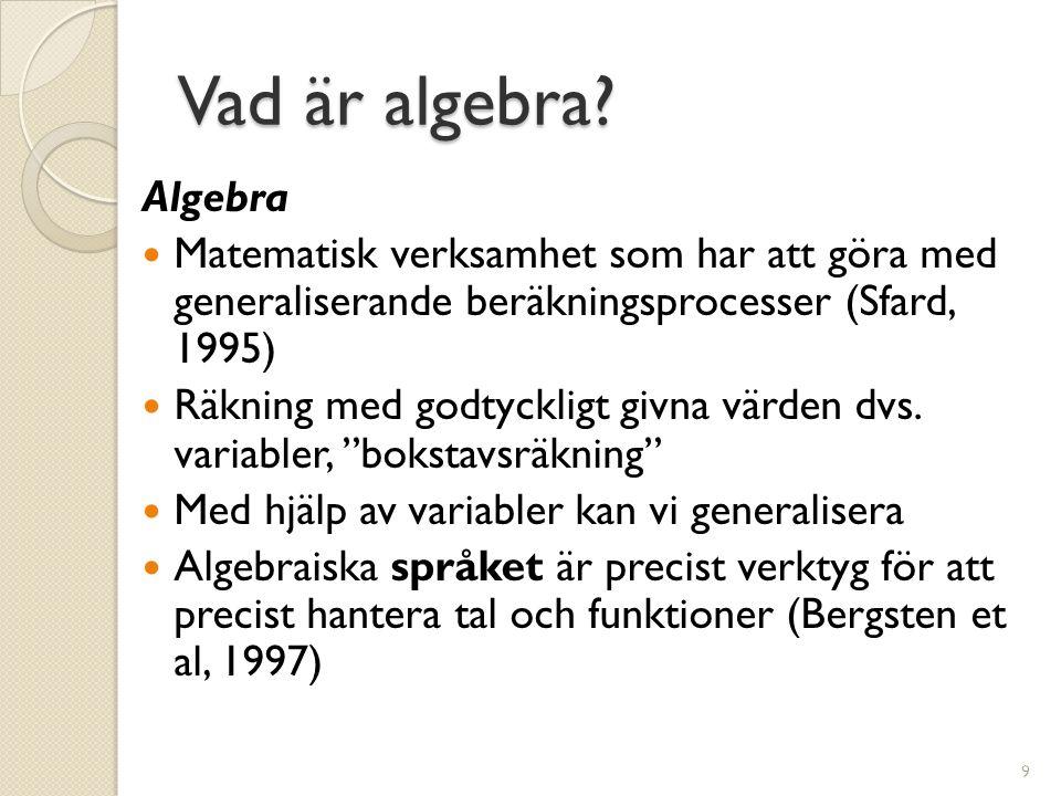 Vad är algebra Algebra. Matematisk verksamhet som har att göra med generaliserande beräkningsprocesser (Sfard, 1995)