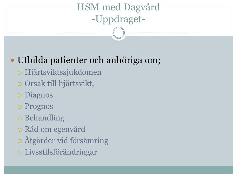 HSM med Dagvård -Uppdraget-