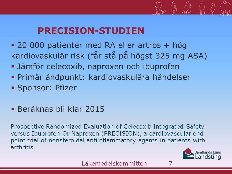 PRECISION-studien 20 000 patienter med RA eller artros + hög kardiovaskulär risk (får stå på högst 325 mg ASA)