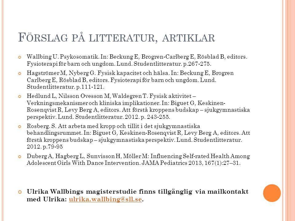 Förslag på litteratur, artiklar