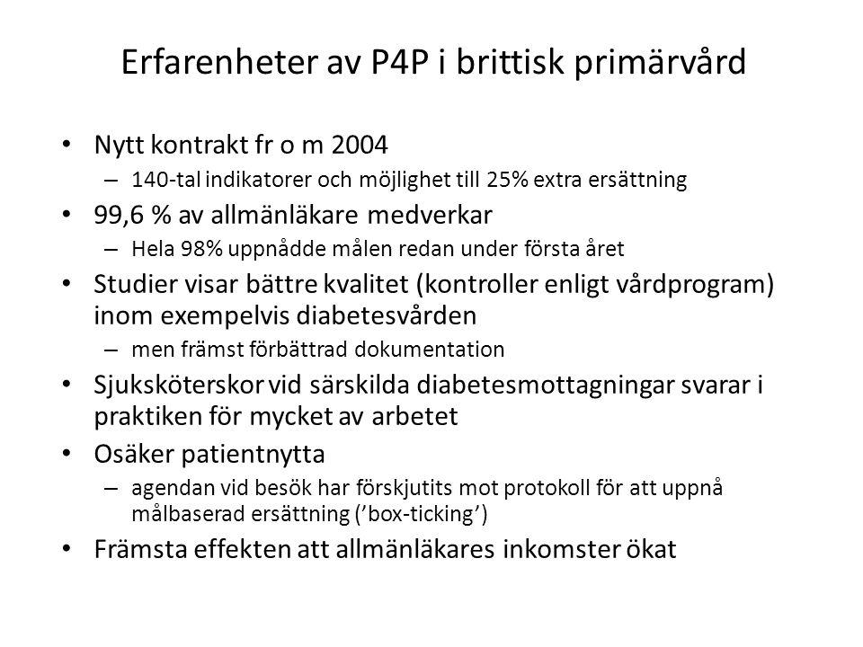 Erfarenheter av P4P i brittisk primärvård